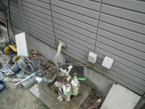 ガス給湯器エコジョーズ取替工事(神戸市長田区)既設給湯器撤去完了後