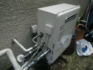ガス給湯器エコジョーズ取替工事(神戸市東灘区)本体固定完了