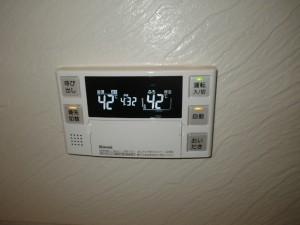 ガス給湯器エコジョーズ取替工事(尼崎市)浴室リモコン取替完了後。