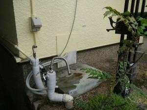ガス給湯器取替工事(神戸市北区)既設給湯器撤去完了後