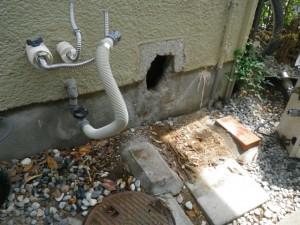ガス給湯器取替工事(神戸市須磨区)既設給湯器撤去完了後
